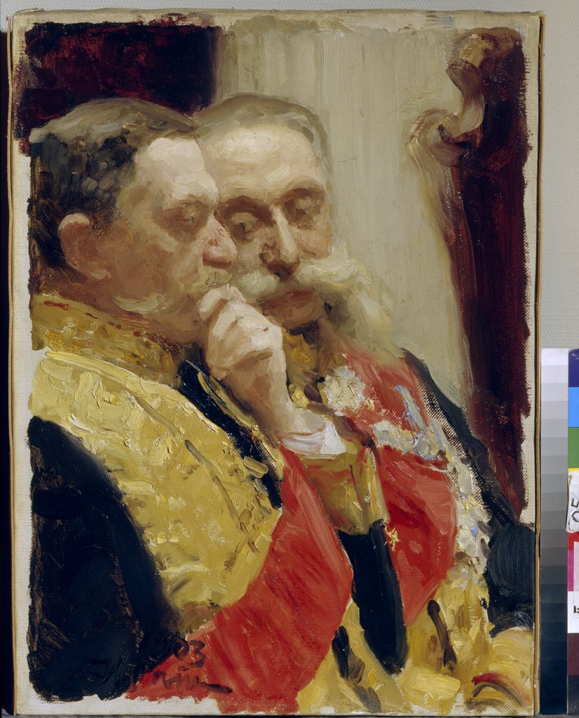 Stock Photo: 4266-6434 Portrait of Ivan Goremykin and Nikolai Gerard by Ilya Yefimovich Repin, oil on canvas, 1903, 1844-1930, Russia, Moscow, State Tretyakov Gallery, 63x45