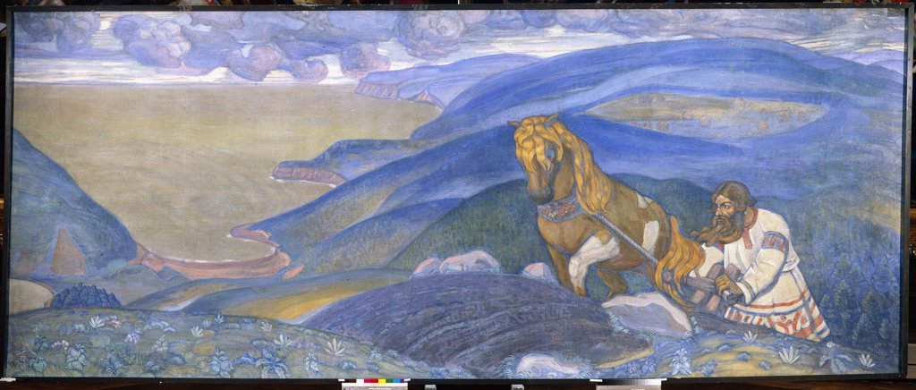 Roerich, Nicholas (1874-1947) State Russian Museum, St. Petersburg 1910 203x494 Tempera on canvas Symbolism Russia Mythology, Allegory and Literature,History  : Stock Photo