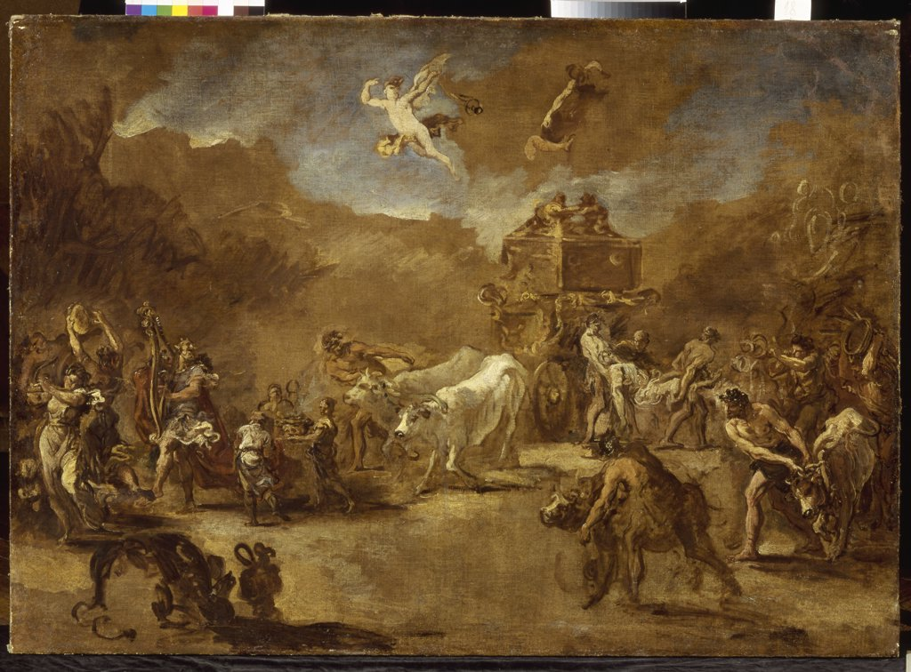 Stock Photo: 4266-6443 Transporting Ark of Covenant by Sebastiano Ricci, oil on canvas, 1659-1734, Venetian School, Ukraine, Lviv, State Art Gallery, 93x131