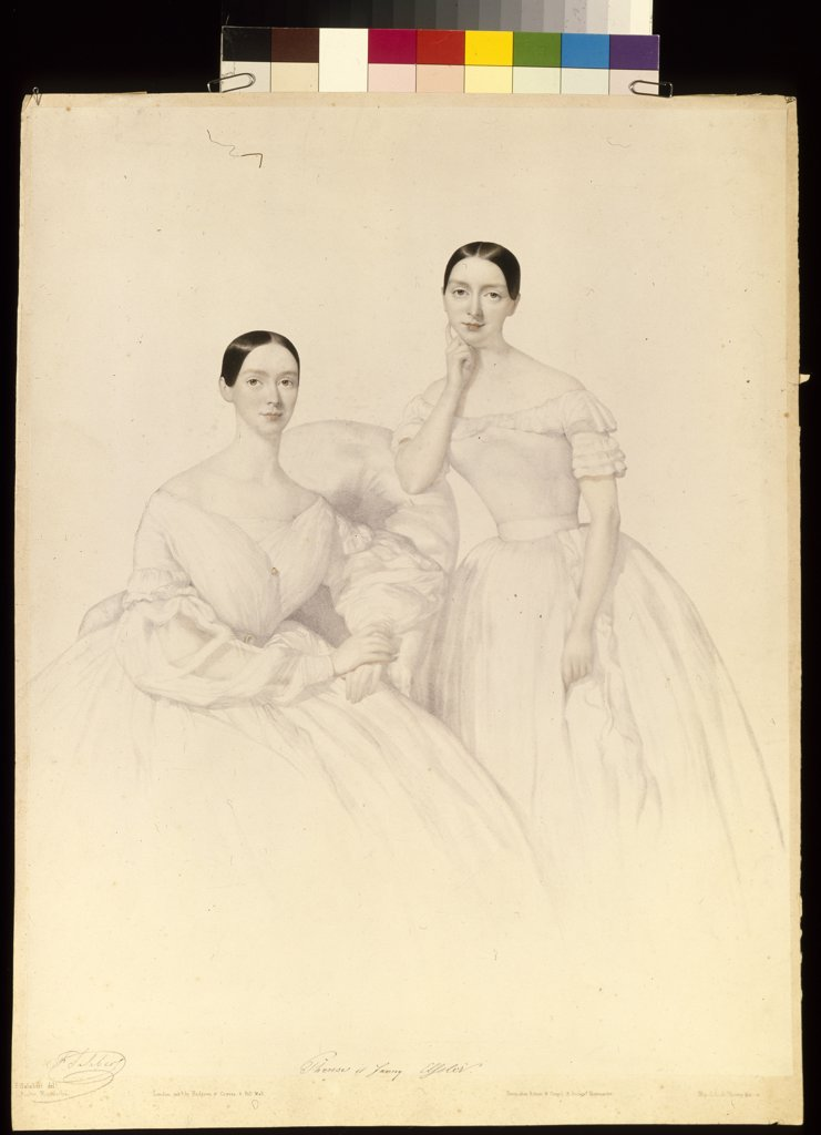 Stock Photo: 4266-6446 Portrait of Elssler sisters by unknown painter, lithograph, watercolour, 1830s, Russia, St Petersburg, State Museum of Theatre and Music Art,