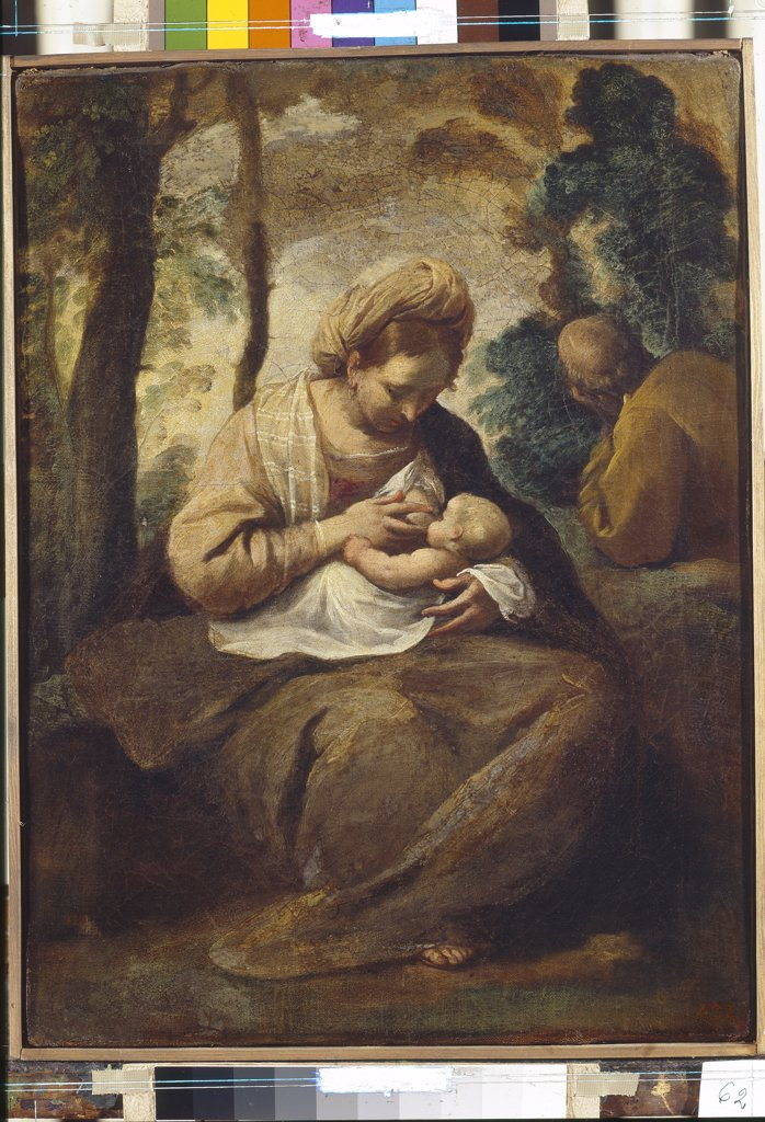 Virgin Mary breastfeeding baby Jesus by Simone Cantarini, oil on canvas, 1612-1648, Bolognese School, Russia, St Petersburg, State Hermitage, 41x31 : Stock Photo