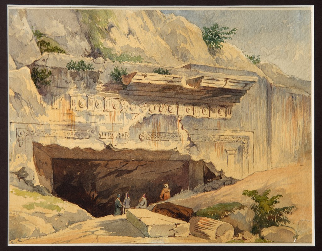 Stock Photo: 4266-6504 Royal tombs of Judah by Konstantin Karlovich Gerz, Watercolor and ink on paper, 1858, 1826-1879, Russia, Moscow, State History Museum