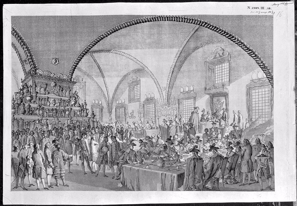 Stock Photo: 4266-6552 Social gathering in Kremlin by Mikhail Ivanovich Makhaev, Etching, 1790s, 1718-1770, Russia, Moscow, State History Museum,