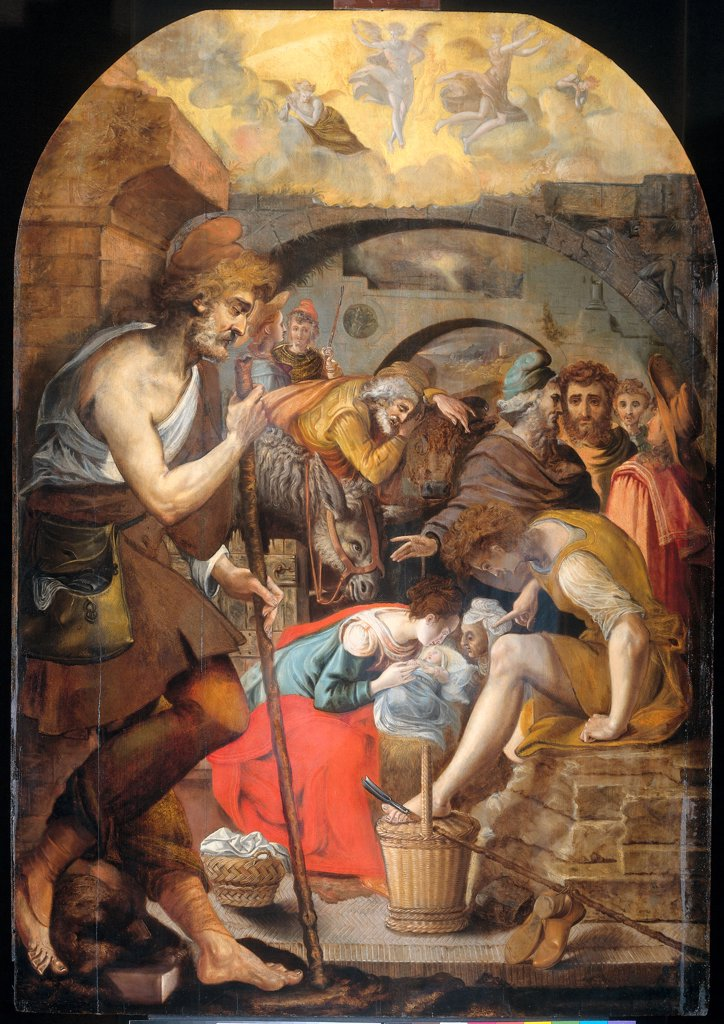 Stock Photo: 4266-6590 Adoration of Christ child by Anthonie Blocklandt van Montfoort, oil on wood, 1572, 1533/4-1583, Holland, Amsterdam, Rijksmuseum, 141,5x99,1