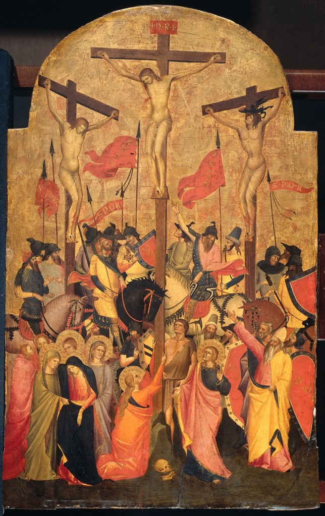 Stock Photo: 4266-6619 Crucifixion of Jesus Christ by Niccolo di Pietro Gerini, tempera on panel, 1415, circa 1350-1415, Florentine School, Holland, Amsterdam, Rijksmuseum, 70x43