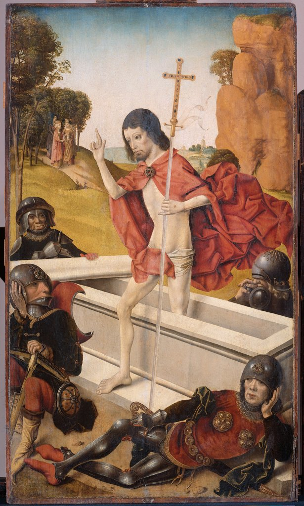 Ascension of Christ by Master of Virgo inter Virgines, oil on wood, active end of 15th century, Holland, Amsterdam, Rijksmuseum, 88x51 : Stock Photo