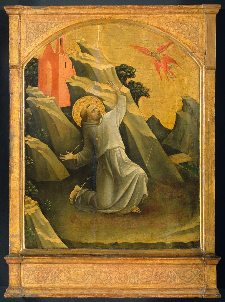 Stock Photo: 4266-6625 St Francis of Assisi by Lorenzo Monaco, tempera on panel, 1424, circa 1370-1425, Florentine School, Holland, Amsterdam, Rijksmuseum, 87x61,5