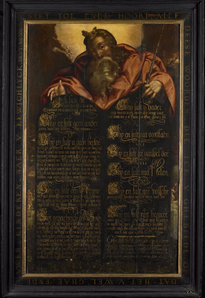 Stock Photo: 4266-6626 Ten commandments by unknown painter, oil on wood, 1560, Holland, Amsterdam, Rijksmuseum, 112x68