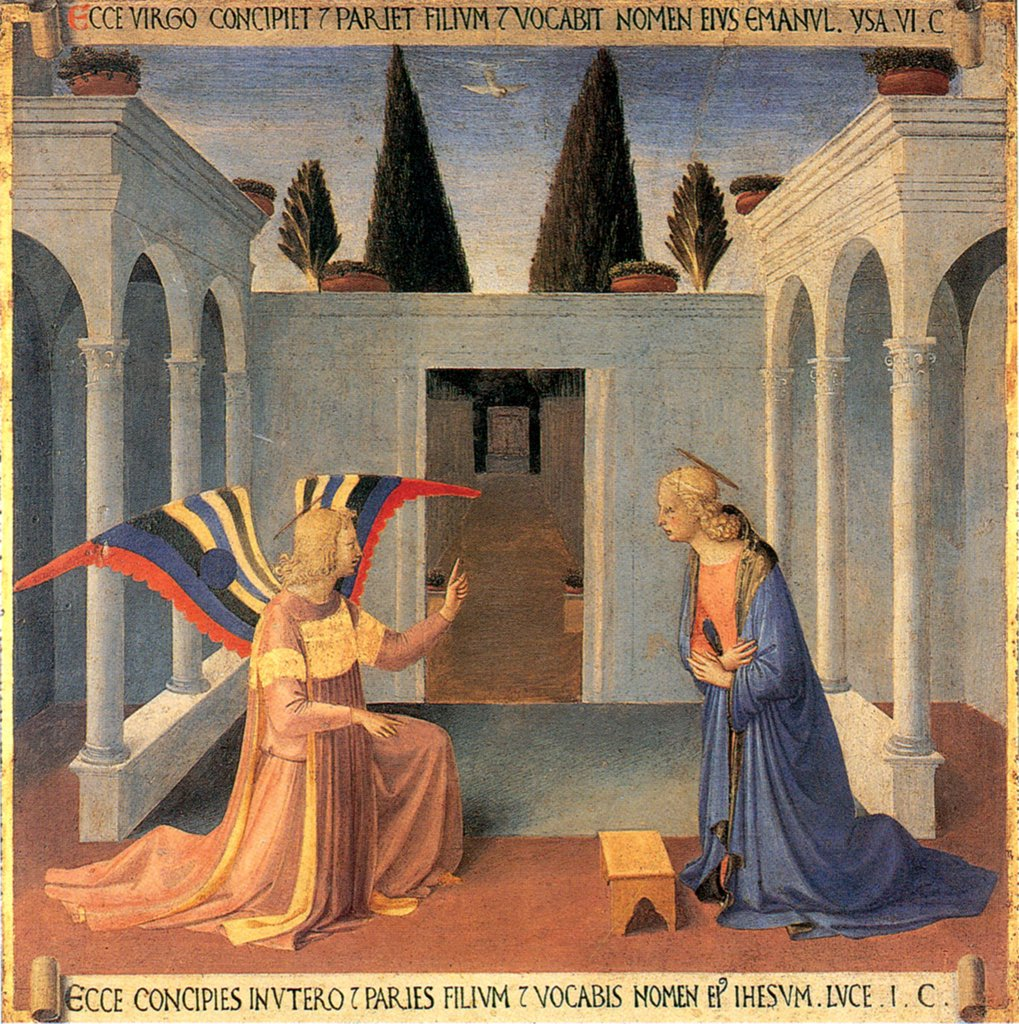 Annunciation to Virgin Mary by Fra Angelico, tempera on panel, circa 1450, circa 1400-1455, Florentine School, Italy, Florence, San Marco Church, 38,5x37 : Stock Photo