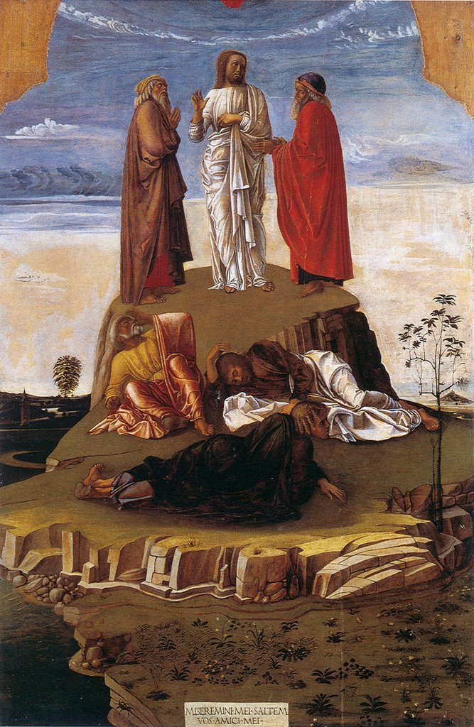 Transfiguration of Jesus Christ by Giovanni Bellini, oil on wood, circa 1460, 1430-1516, Venetian School, Italy, Venice, Museo Correr, 133x90,3 : Stock Photo