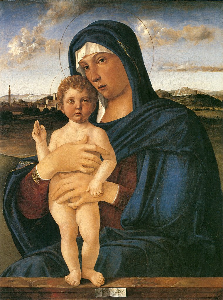 Stock Photo: 4266-6635 Virgin Mary with Jesus as child by Giovanni Bellini, oil on wood, 1475-1480, 1430-1516, Venetian School, Italy, Venice, Gallerie dell' Accademia, 78x58