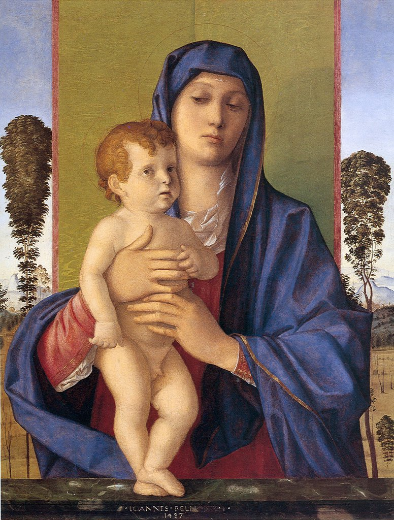 Stock Photo: 4266-6637 Madonna with Child by Giovanni Bellini, oil on wood, 1487, 1430-1516, Venetian School, Italy, Venice, Gallerie dell' Accademia, 74x58