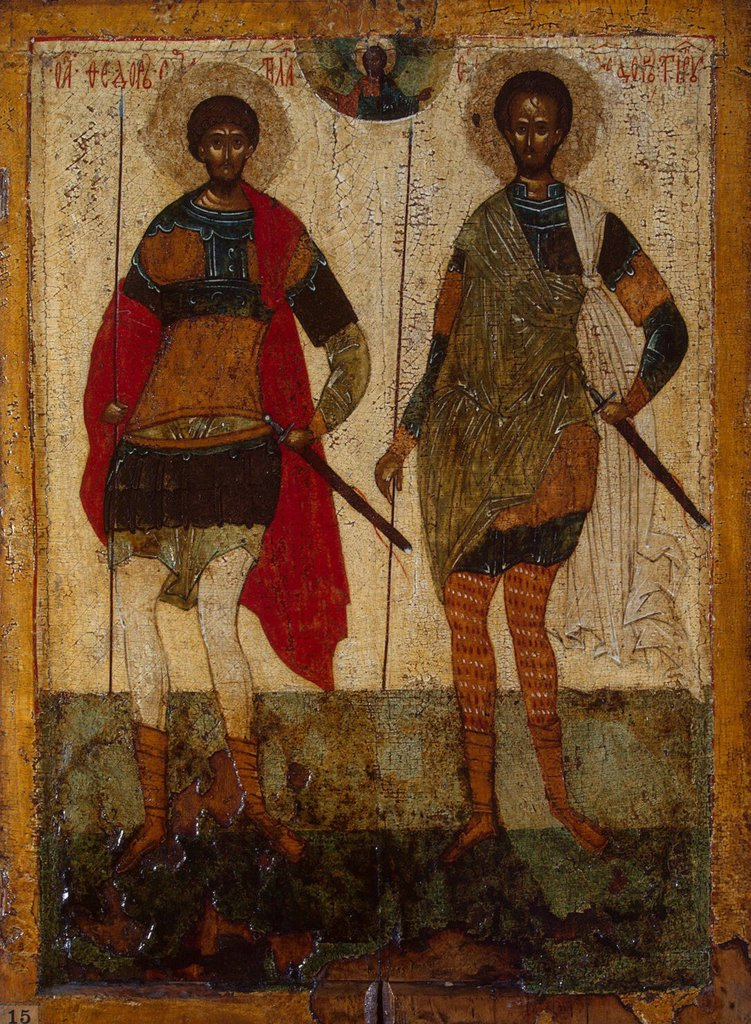 Saint Theodore by unknown painter, tempera on panel, Novgorod School, Russia, St Petersburg, State Hermitage, 53,5x38 : Stock Photo