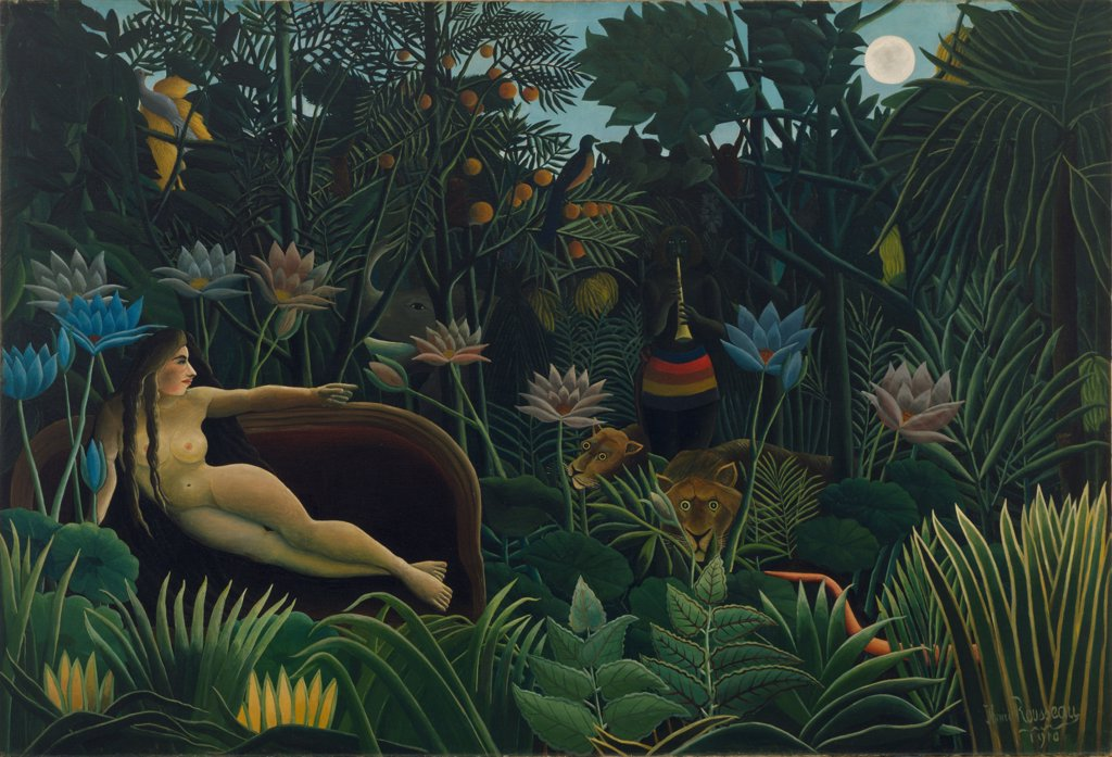 Stock Photo: 4266-6715 Paradise garden by Henri Julien Felix Rousseau, oil on canvas, 1910, 1844-1910, USA, New York, Museum of Modern Art, 204x298