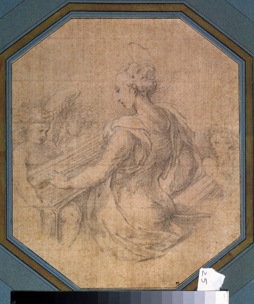 Illustration with Saint Cecilia by Parmigianino, Black chalk on paper, circa 1527-1530, 1503-1540, Russia, Moscow, State A. Pushkin Museum of Fine Arts, 25,3x21,2 : Stock Photo