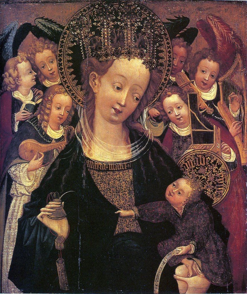 Religious illustration with Virgin Mary and Jesus Christ by Conrad von Soest, Oil on wood, circa 1420, circa 1370-after 1422, Hungary, Budapest, Szepmuveszeti Muzeum, 68,2x59 : Stock Photo