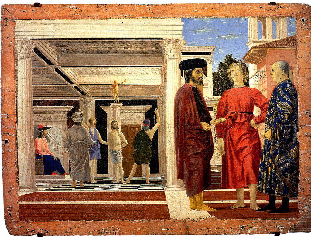 Jesus Christ before way to Calvary by Piero della Francesca, Tempera and oil on wood, circa 1455, circa 1415-1492, Italy, Urbino, Galleria nazionale delle Marche, 67,5x91 : Stock Photo