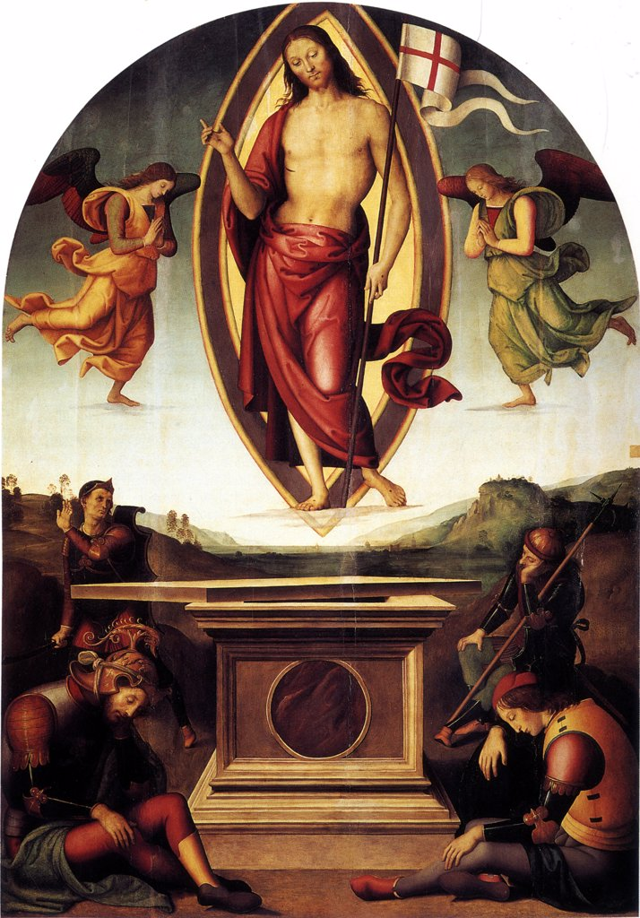 Resurrection Of Christ by Perugino, Tempera on panel, 1499, circa 1450-1523, Italy, Rome, Musei Vaticani in Viale Vaticano, 233x165 : Stock Photo