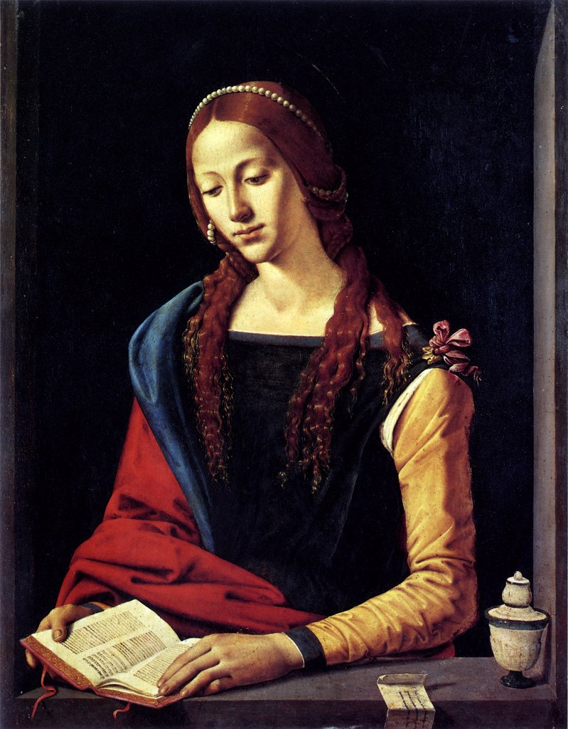 Stock Photo: 4266-6898 Saint Mary Magdalene reading bible by of Piero di Cosimo, Oil on wood, circa 1500, circa 1462-circa 1521, Italy, Rome, Palazzo Barberini, 72x53