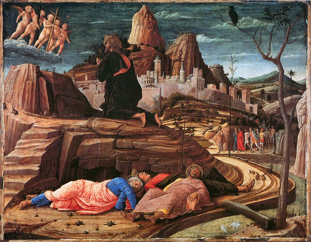Stock Photo: 4266-6904 Religious illustration by Andrea Mantegna, Tempera on panel, 1455, 1431-1506, Great Britain, London, National Gallery, 63x80