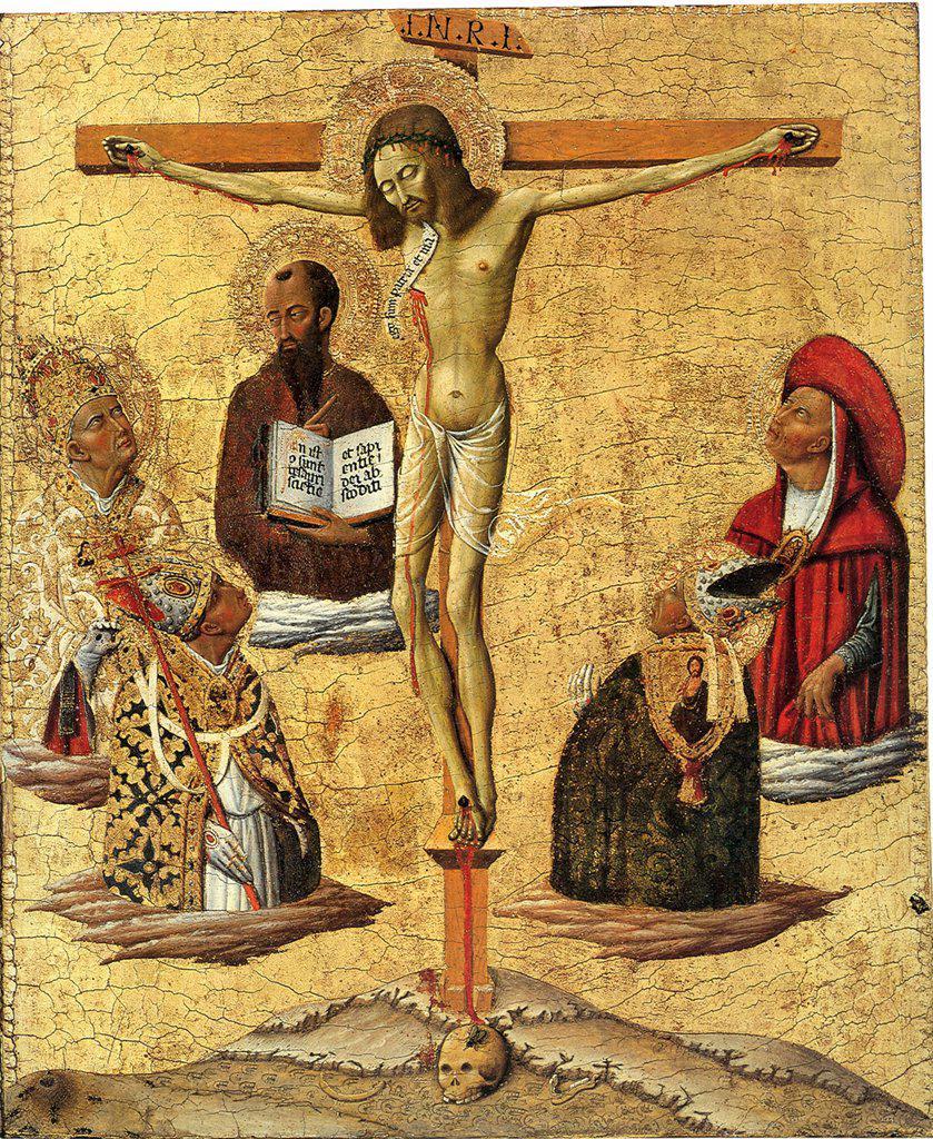 Stock Photo: 4266-6914 The crucifixion by Matteo di Giovanni, Tempera on panel, 1450, circa 1430-1495, USA, Princeton University Art Museum, 51,7x44