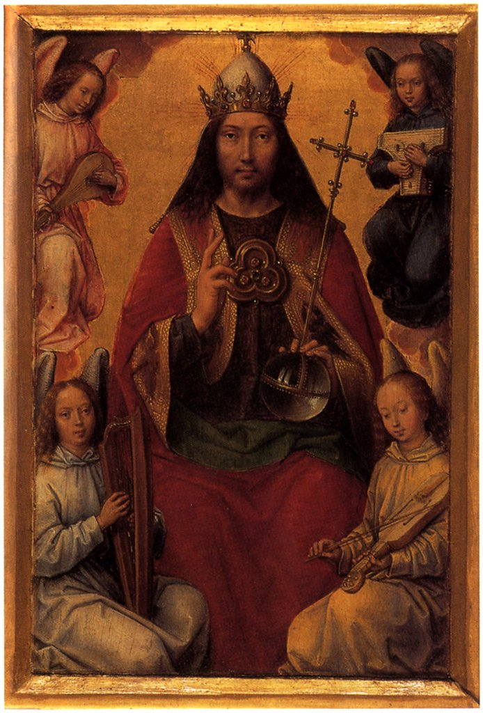 Jesus Christ with angels by Hans Memling, Oil on wood, circa 1490, 1433/40-1494, France, Strasbourg, Musee des Beaux-Arts, 20x13 : Stock Photo