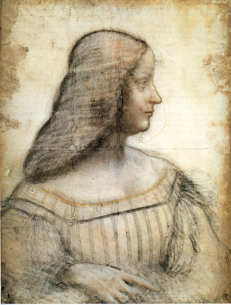 Stock Photo: 4266-6918 Portrait of Isabella d'Este by Leonardo da Vinci, Black chalk and sanguine on paper, 1499-1500, 1452-1519, France, Paris, Louvre, 63x46