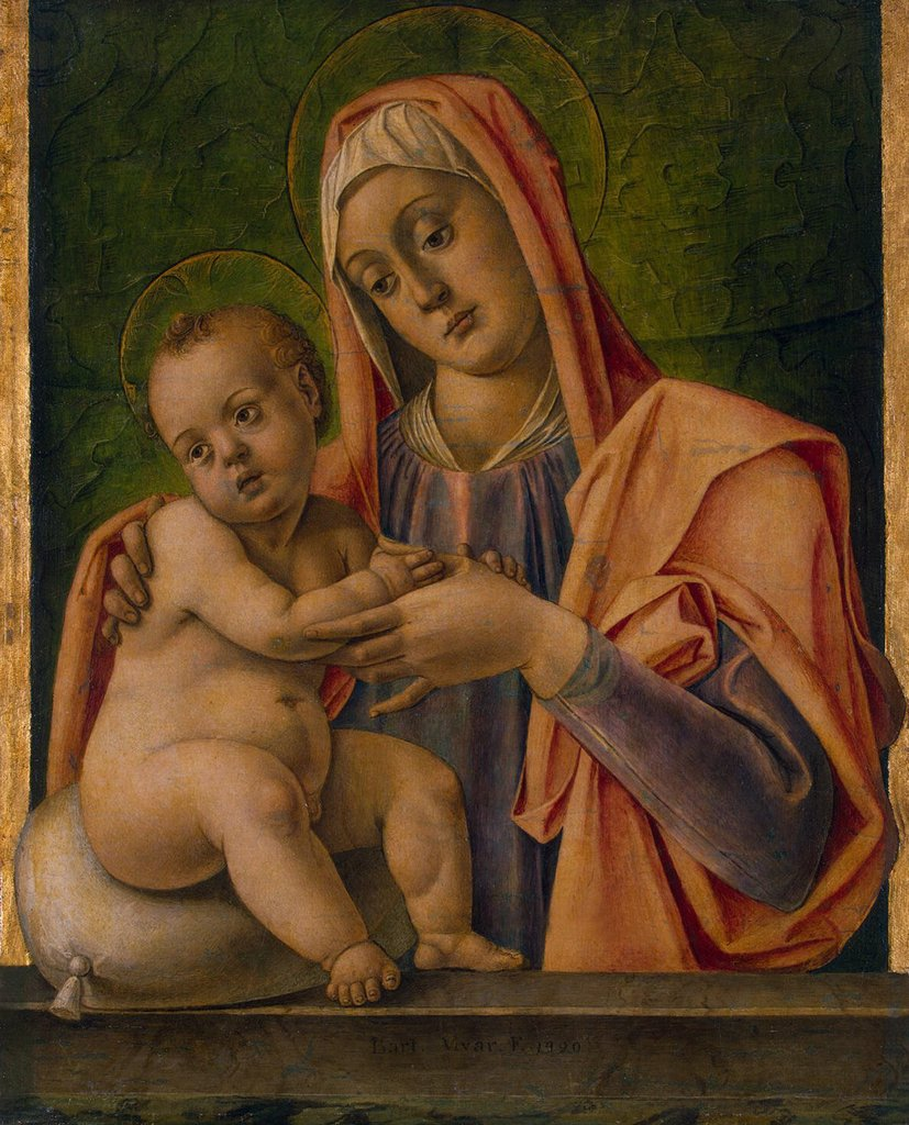 Stock Photo: 4266-6927 Virgin Mary with Jesus Christ as child by Bartolomeo Vivarini, Tempera and Oil on canvas, 1490, circa 1432-1491, Russia, St. Petersburg, State Hermitage, 57,5x46,5