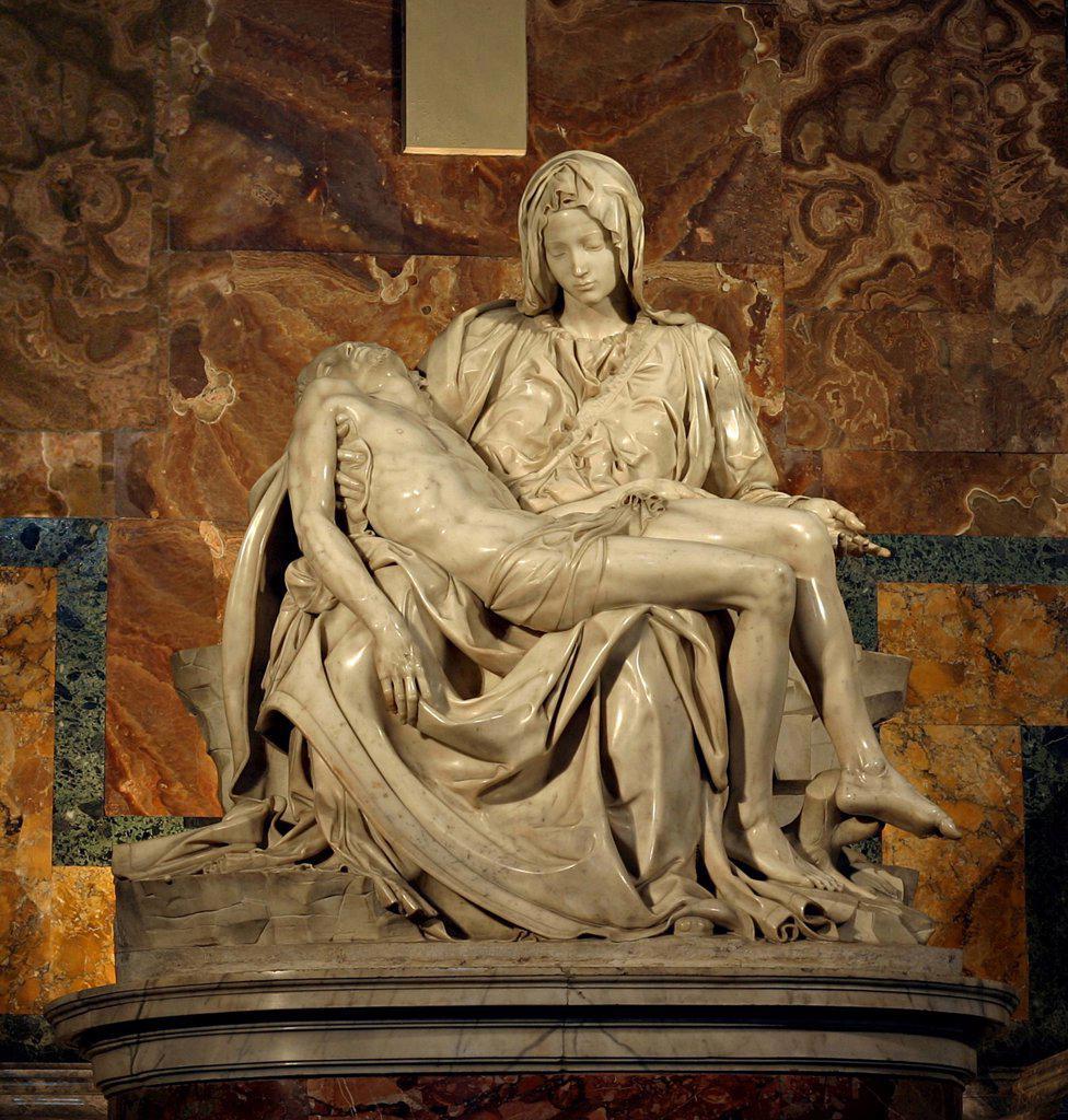 Stock Photo: 4266-6953 Michelangelo Buonarroti, Marble, 1499, 1475-1564, Italy, Vatican, St. Peter's Basilica, 174x195
