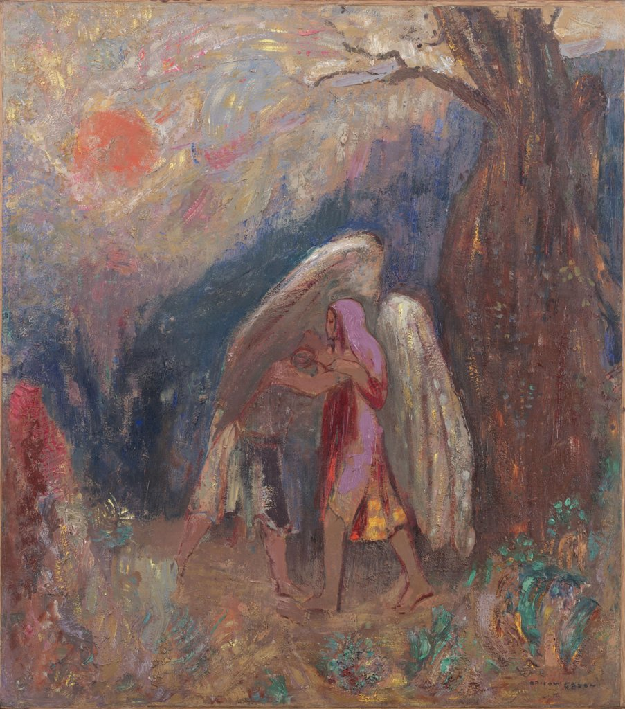 Scene from Old Testament with angel and Jacob by Odilon Redon, Oil on canvas, circa 1907, 1840-1916, USA, New York, Museum of Modern Art, 47x41,6 : Stock Photo