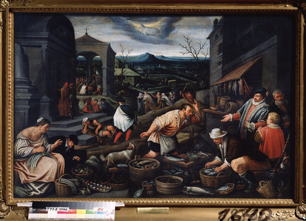 Stock Photo: 4266-7032 Man Selling fish by Leandro Bassano, Oil on canvas, 1557-1622, Russia, Tula, State Art Museum, 80x121