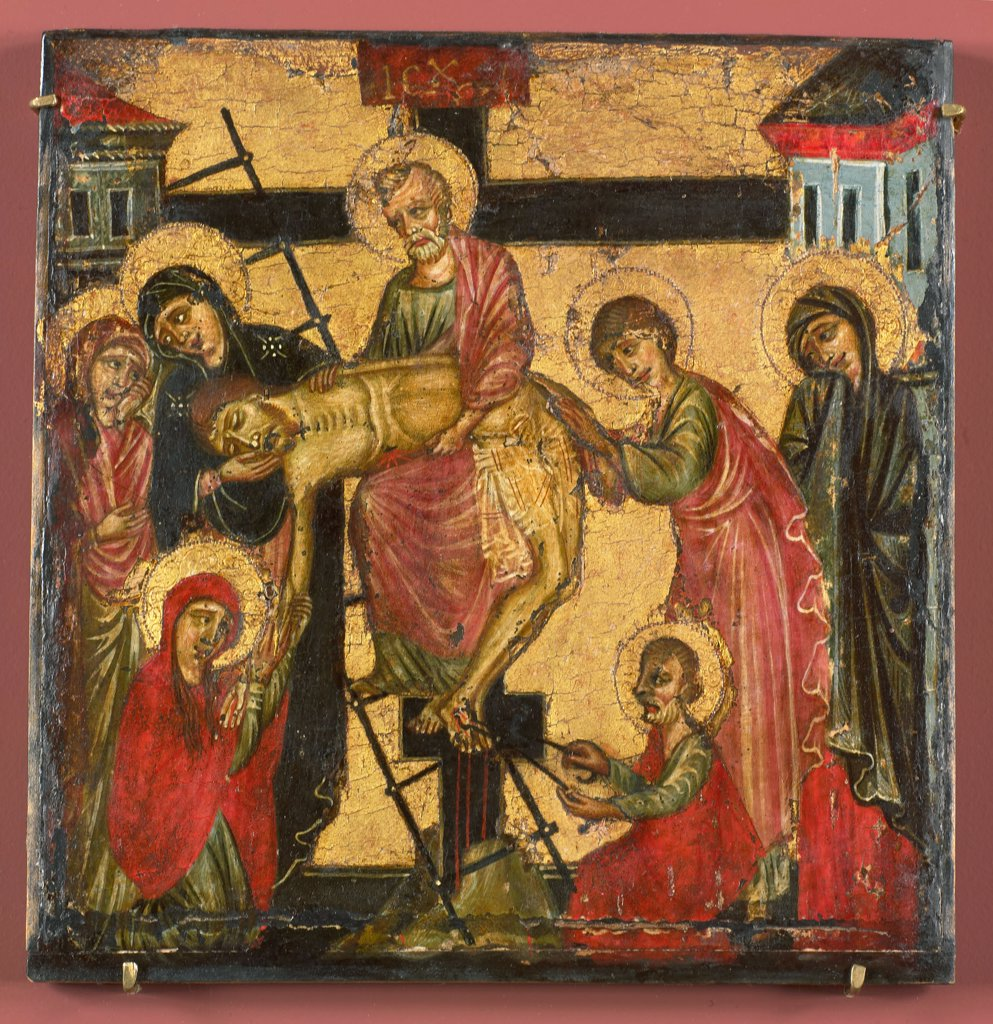 Stock Photo: 4266-7070 Descent from cross by Corso di Buono, Tempera on panel, 1280, 13th century, Holland, Amsterdam, Rijksmuseum, 18,5x18