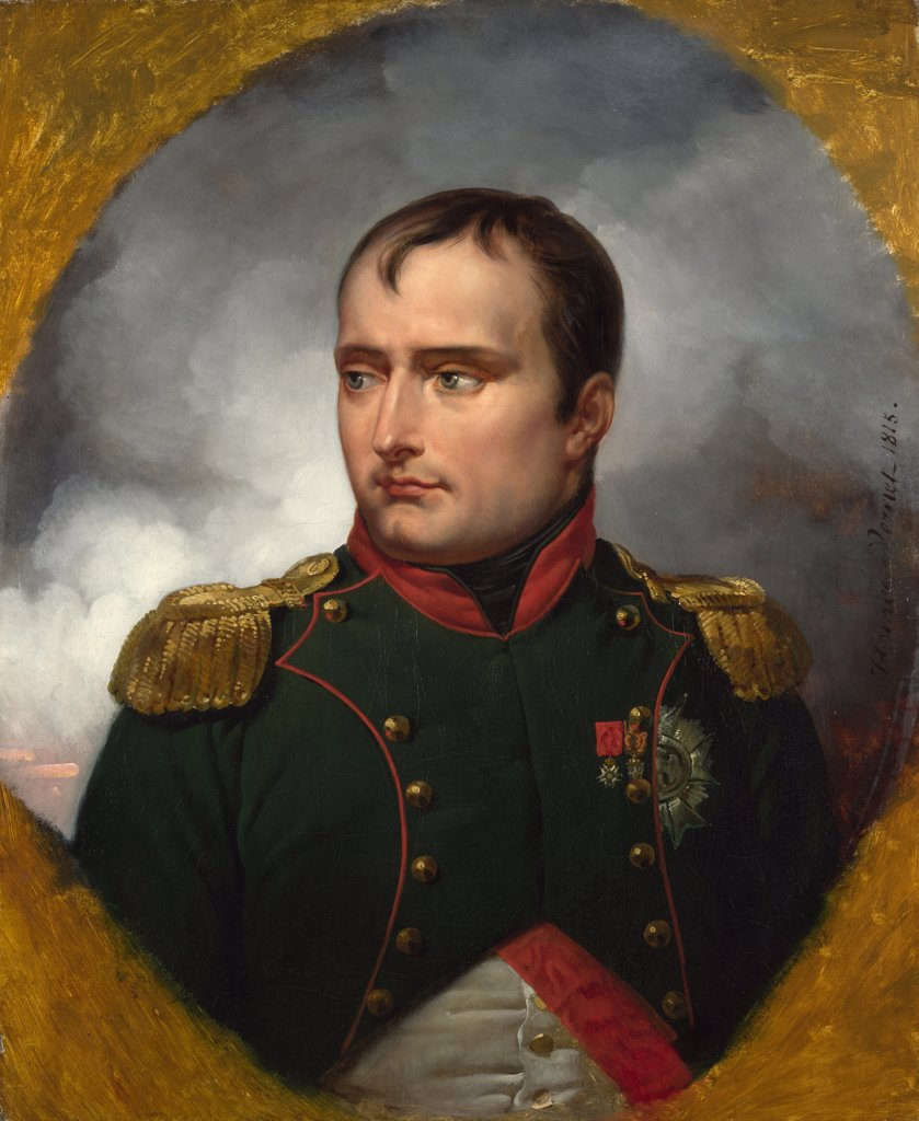 Stock Photo: 4266-7136 Portrait of Napoleon Bonaparte by Horace Vernet, Oil on canvas, 1815, 1789-1863, Great Britain, London, National Gallery, 72,4x59,7