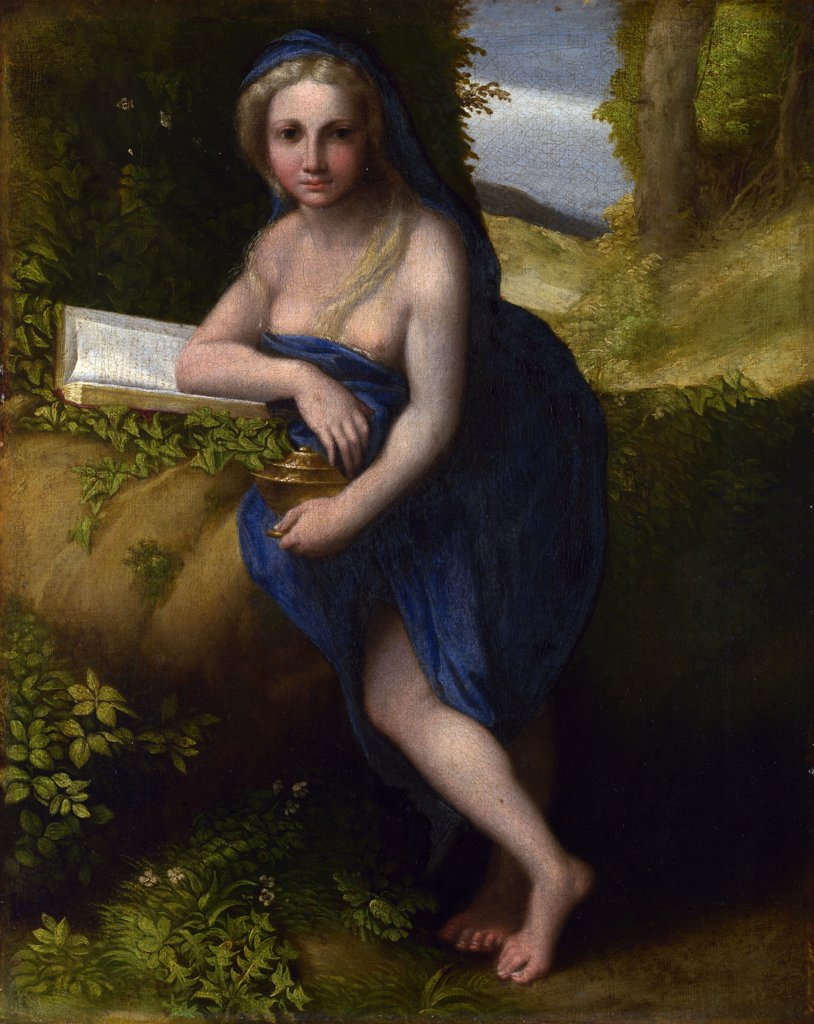 Illustration with Mary Magdalene by Correggio, Oil on canvas, circa 1519, 1489-1534, Great Britain, London, National Gallery, 38,1x30,5 : Stock Photo