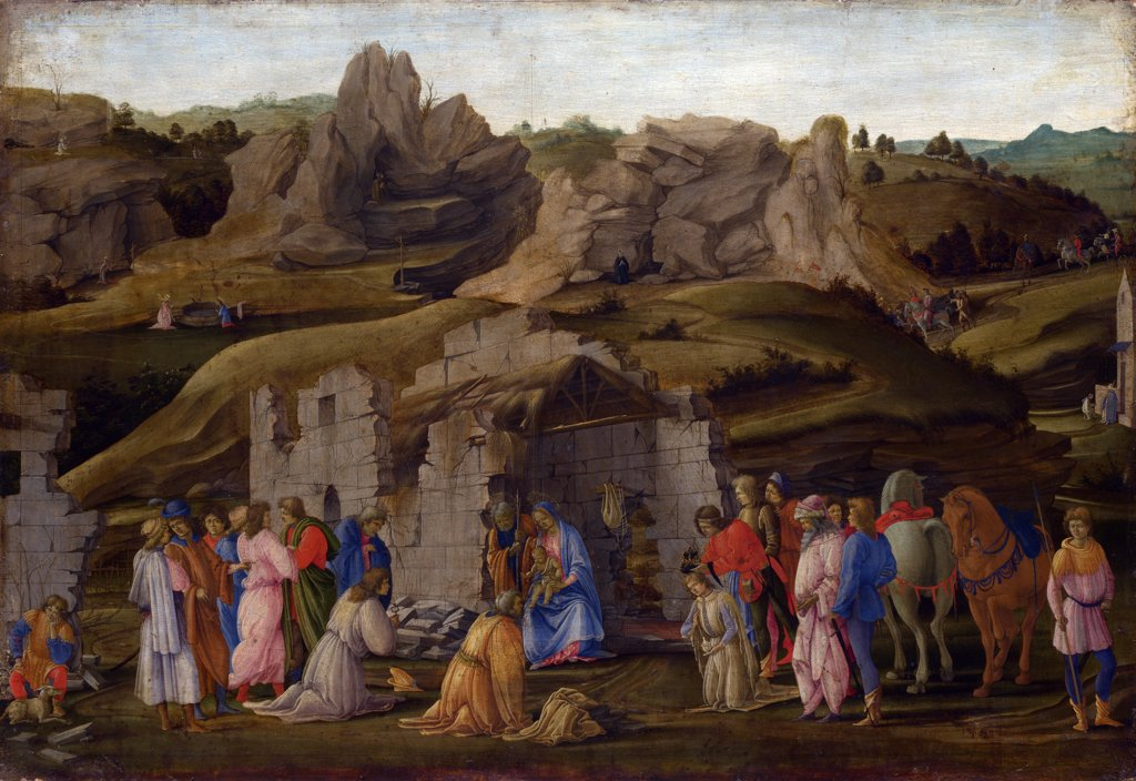 Stock Photo: 4266-7185 Adoration Of Magi by Fra Filippino Lippi, Tempera and oil on wood, circa 1480, 1457-1504, Great Britain, London, National Gallery, 57,5x85,7
