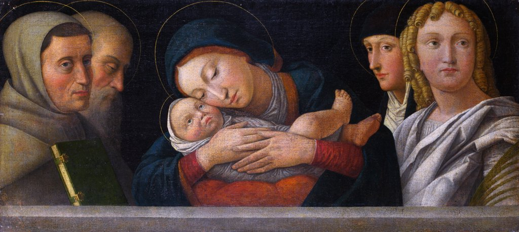 Stock Photo: 4266-7187 Virgin Mary, Jesus Christ and saints by Francesco Bonsignori, Oil on canvas, circa 1490-1510, circa 1460-1519, Great Britain, London, National Gallery, 48,3x106,7