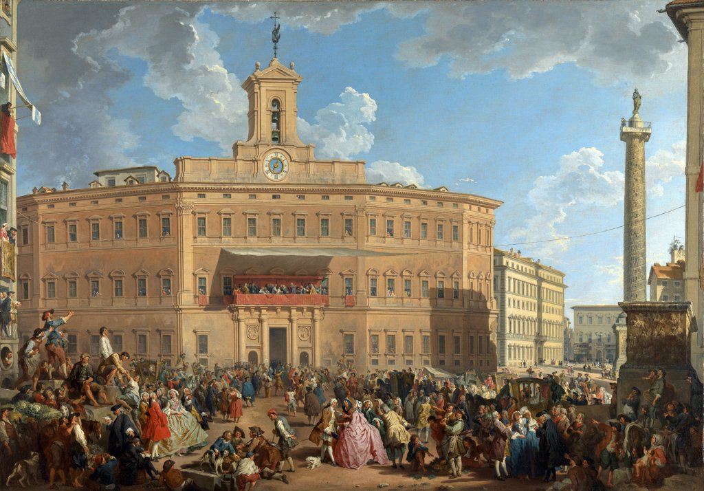 Stock Photo: 4266-7197 Piazza di Montecitorio by Giovanni Paolo Panini, oil on canvas, 1743, 1691-1765, Roman School, England, London, National Gallery, 105x163