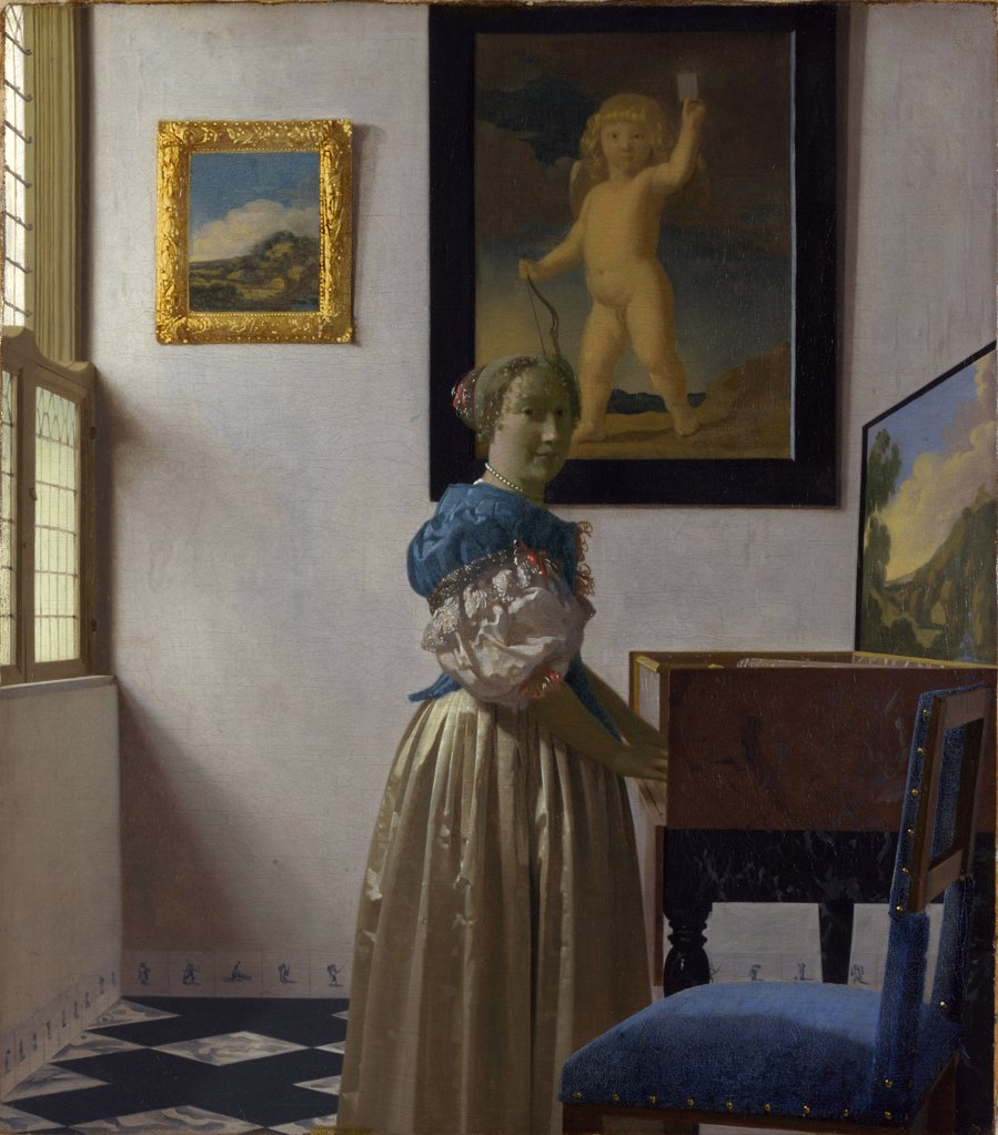 Stock Photo: 4266-7211 Woman playing on piano by Jan Vermeer, oil on canvas, circa 1670, 1632-1675, England, London, National Gallery, 51,7x45,2
