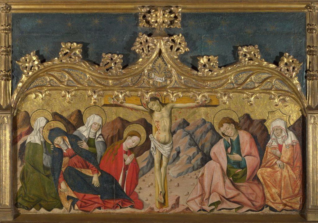 Crucifixion of Jesus Christ by Master of Riglos, tempera on panel, circa 1450, active circa 1435–1460, England, London, National Gallery, 43x102,5 : Stock Photo