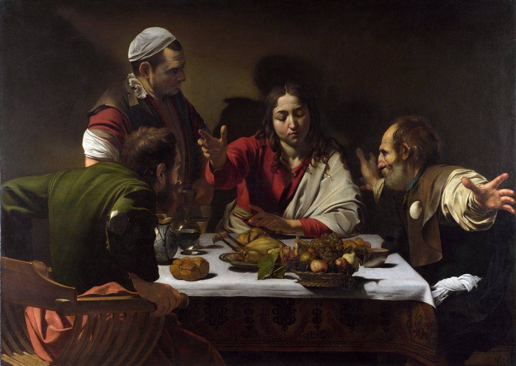 Stock Photo: 4266-7226 Supper at Emmaus by Michelangelo Caravaggio, tempera and oil on canvas, 1601, 1571-1610, Roman School, England, London, National Gallery, 141x196,2