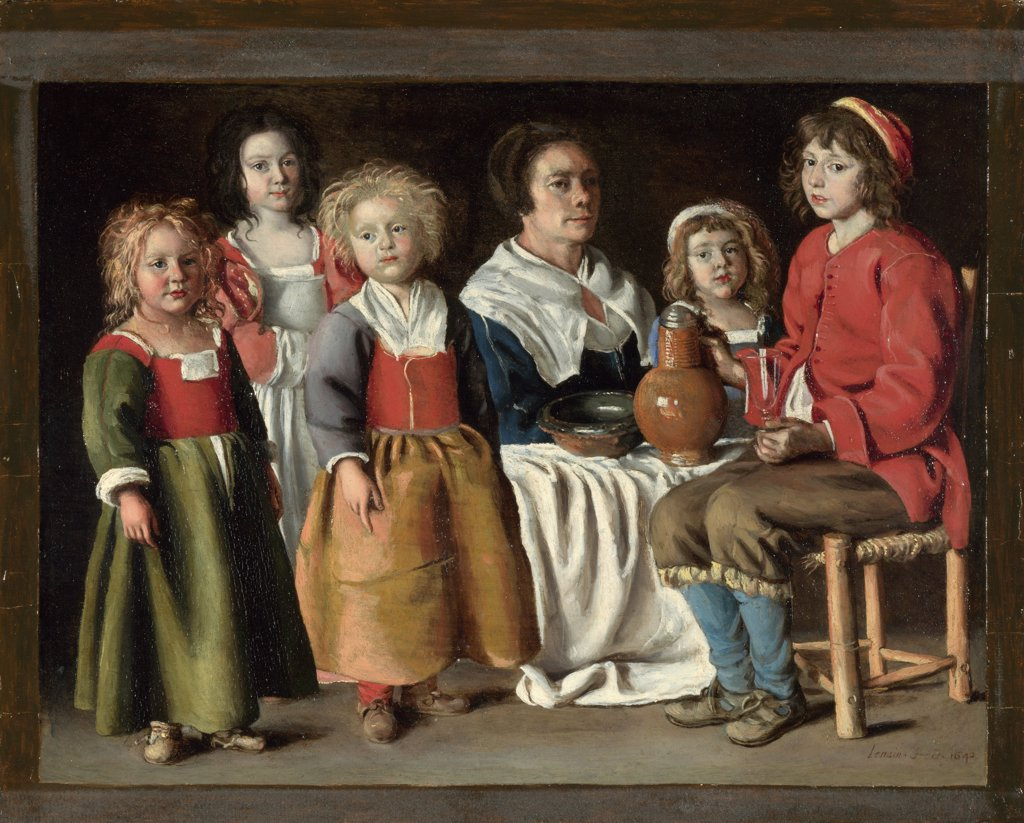 Stock Photo: 4266-7244 Family portrait by Louis Le Nain, oil on copper, 1642, 1593-1648, England, London, National Gallery, 21,8x29,2