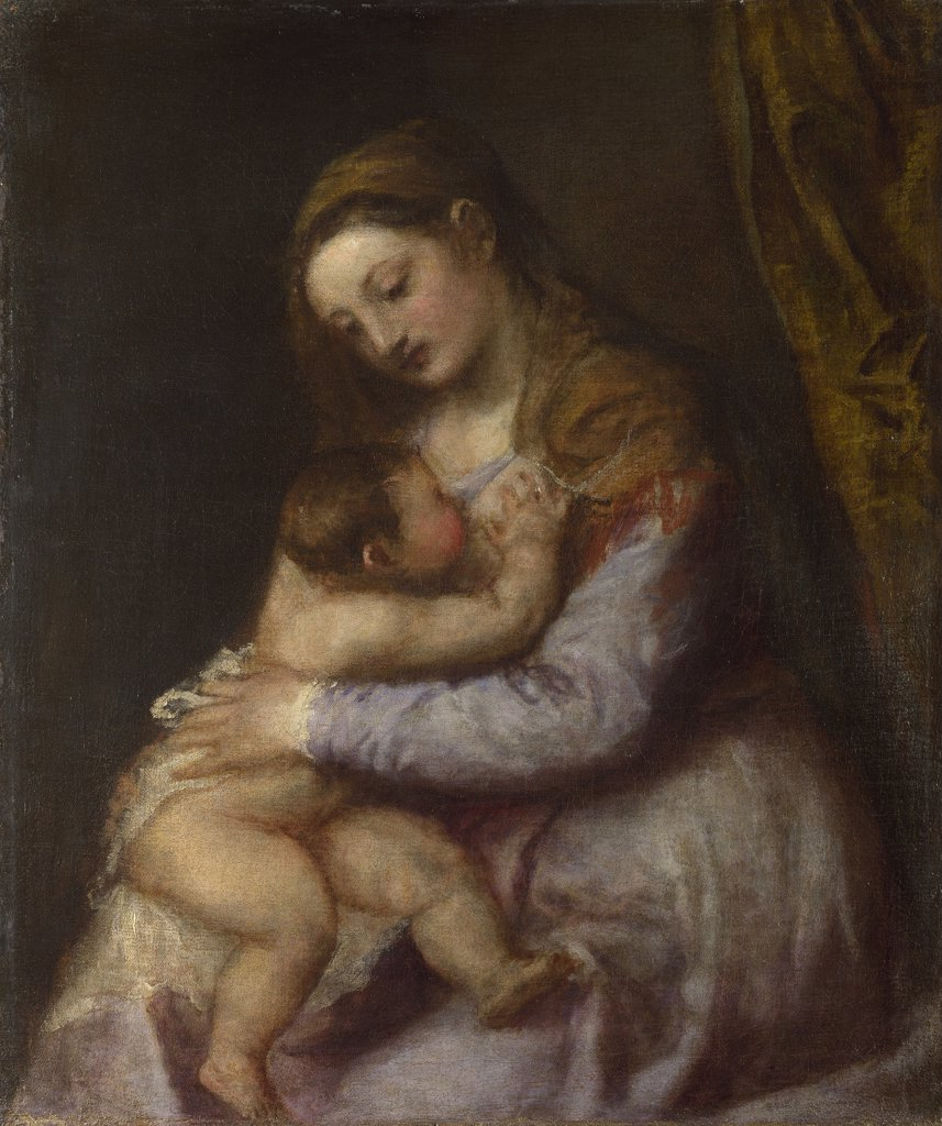Virgin Mary breastfeeding baby Jesus by Titian, oil on canvas, circa 1570, 1488-1576, Venetian School, England, London, National Gallery, 76,2x63,5 : Stock Photo