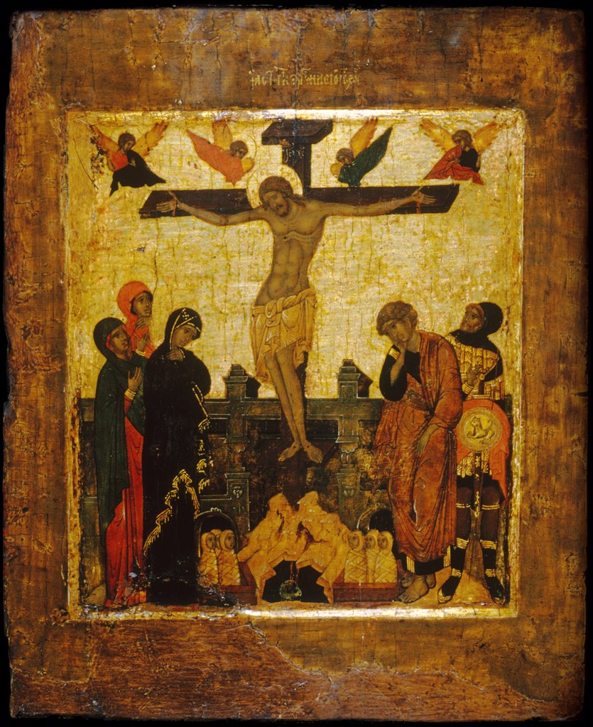 Stock Photo: 4266-7280 The crucifixion by Russian icon, Tempera on panel, 16th century, Usa, Baltimore, Walters Art Museum, 31,2x25,5