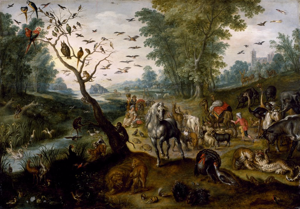 Stock Photo: 4266-7300 Noahs animals by Jan van Kessel the Elder, Oil on wood, circa 1660, 1626-1679, Usa, Baltimore, Walters Art Museum, 65,4x94,5