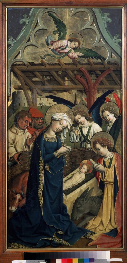 Adoration of Christ Child by Master of the Lichtenstein Castle, Oil on wood, circa 1440, 15th century, Russia, Moscow, State A. Pushkin Museum of Fine Arts, 101x50 : Stock Photo