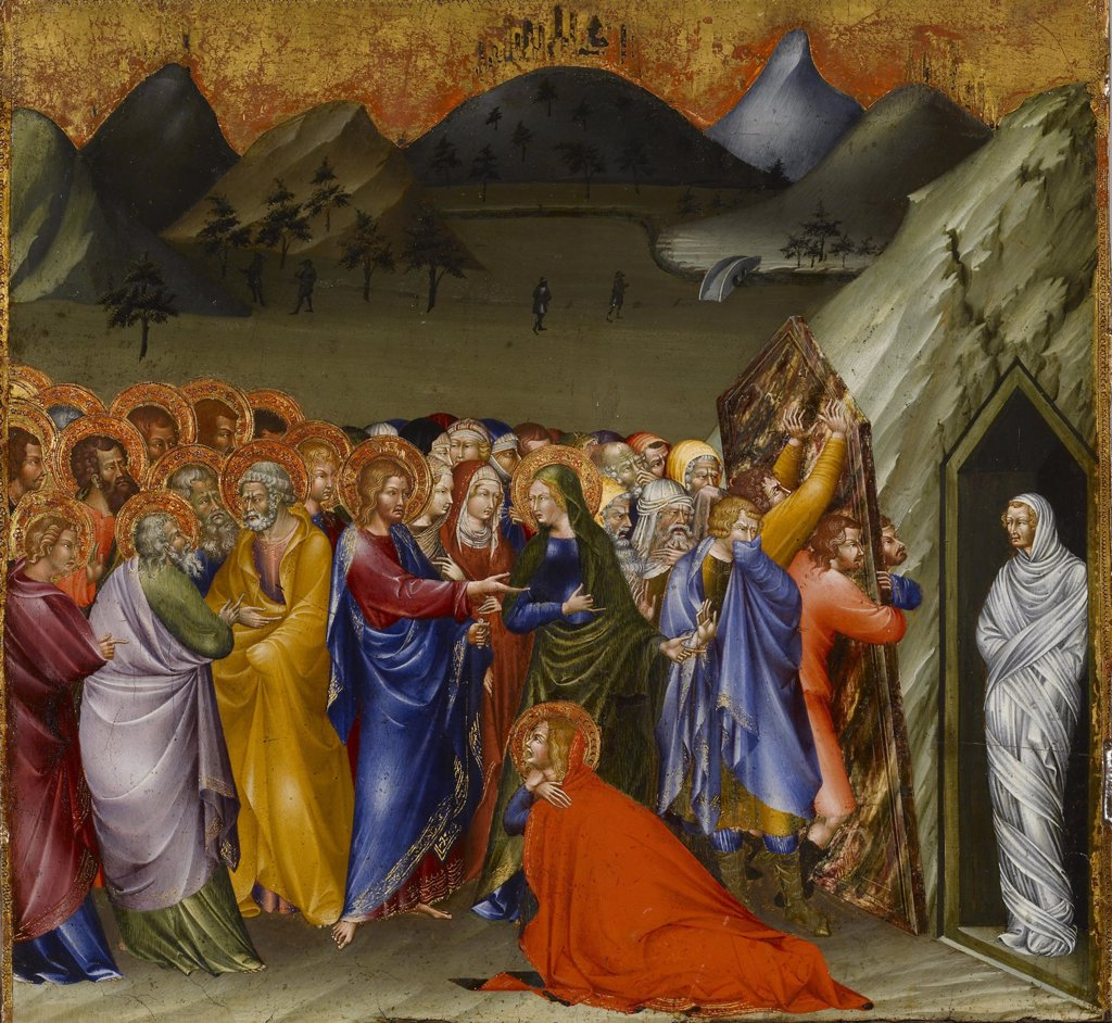 Stock Photo: 4266-7309 Resurrection Of Lazarus by Giovanni di Paolo, Tempera on panel, 1426, circa 1403-1482, Usa, Baltimore, Walters Art Museum, 40,5x43,5