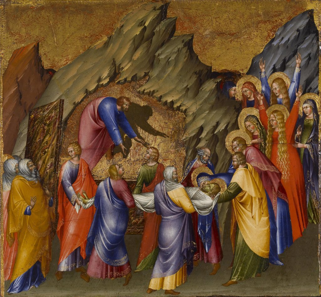 Stock Photo: 4266-7310 Entombment Of Christ by Giovanni di Paolo, Tempera on panel, 1426, circa 1403-1482, Usa, Baltimore, Walters Art Museum, 40,5x43,5