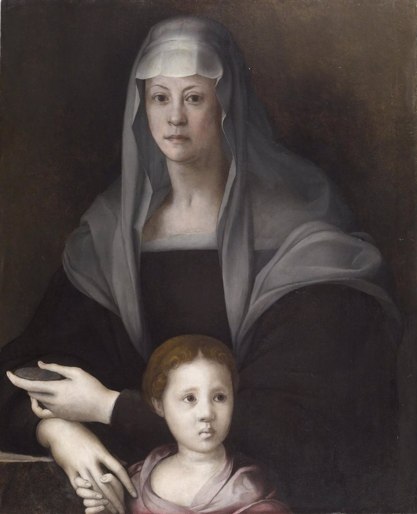 Stock Photo: 4266-7315 Maria Salviati with Giulia de Medici by Pontormo, Oil on wood, circa 1537, 1494-1557, Usa, Baltimore, Walters Art Museum, 88x71,3