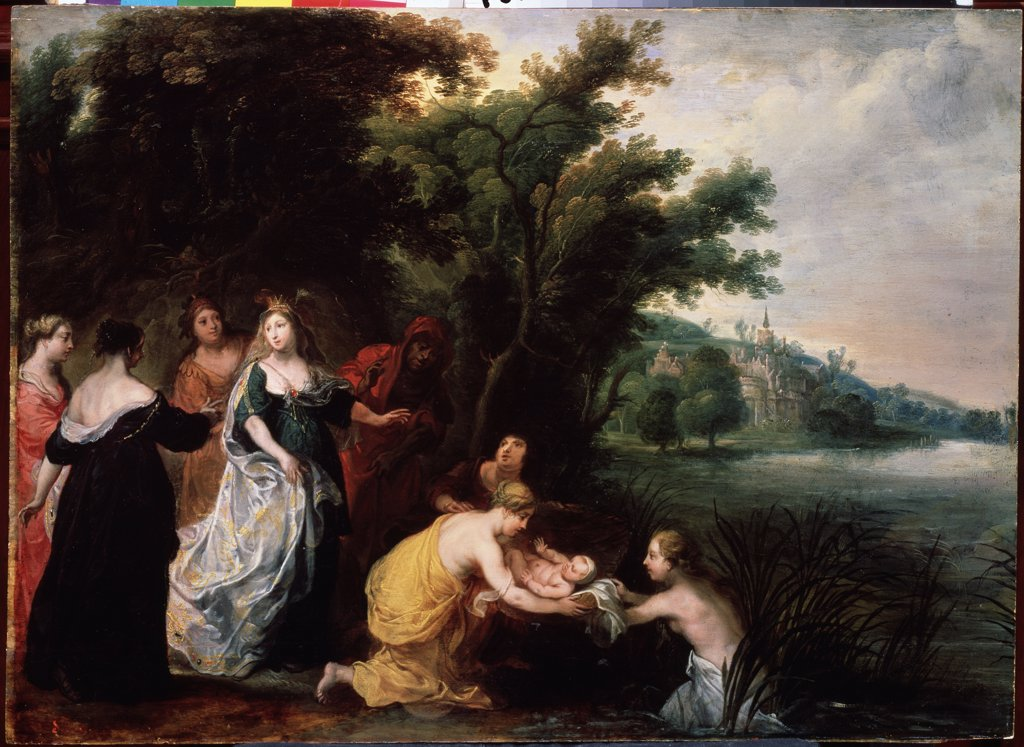 Finding of Moses by Jan van Balen, Oil on copper, 1611-1654, Russia, St. Petersburg, State Open-air Museum Peterhof : Stock Photo
