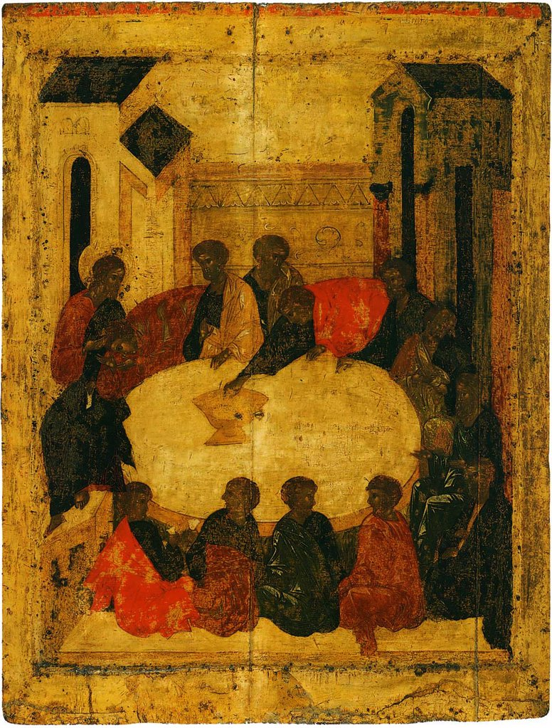 Last Supper, Tempera on panel, circa 1410, Russia, Moscow, Annunciation Cathedral in the Kremlin, 80x61 : Stock Photo